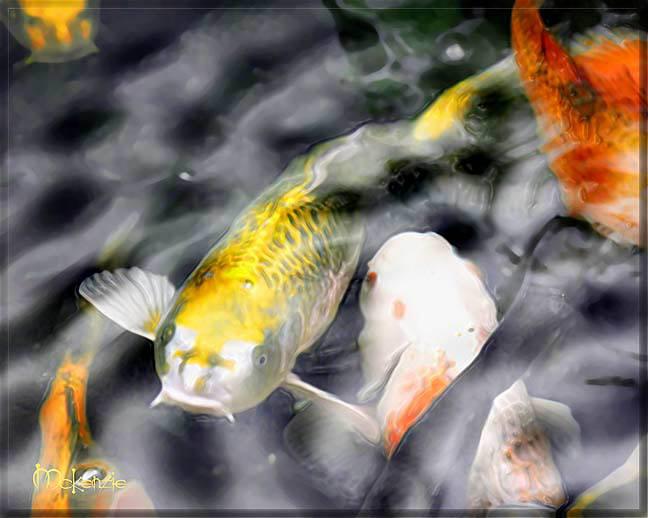Japanese Art Yellow Koi Fish Pond Feng Shui Painting Ebay