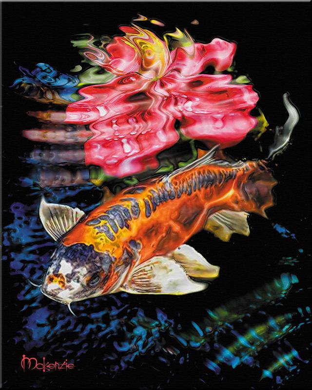 Japanese Art Koi Surface Fish Pond Feng Shui Painting Ebay